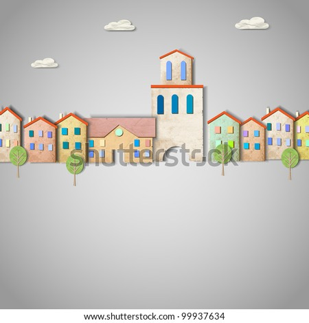 Town made from old paper. Creative vector eps10 - stock vector