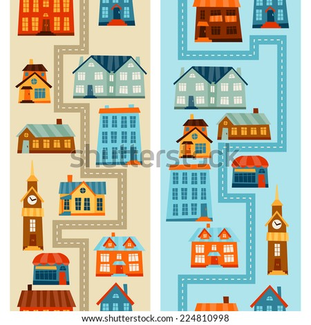 Town seamless patterns with cute colorful houses.