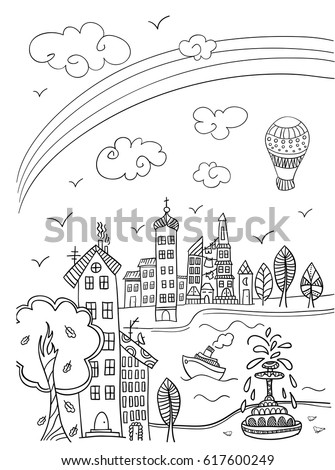 Town Street With Rainbow Coloring Book Page In Doodle Style