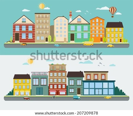 Town streets in a flat design, set of urban streetscapes - stock vector