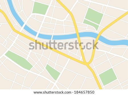 town streets on the plan - vector - stock vector