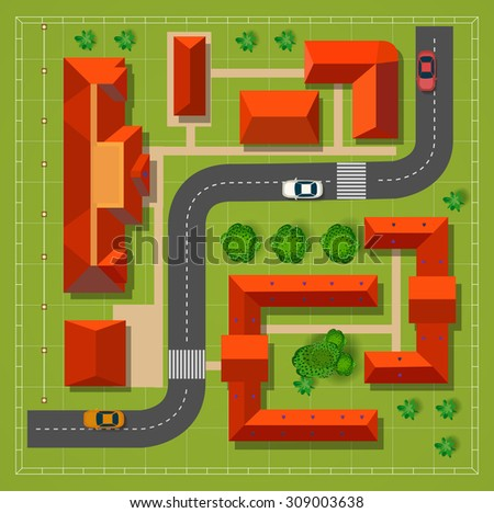 Town with houses with the road cars and trees top view - stock vector