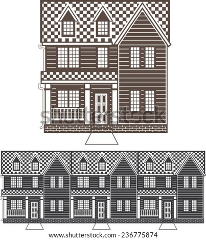 TownHouse row of townhomes vector - stock vector