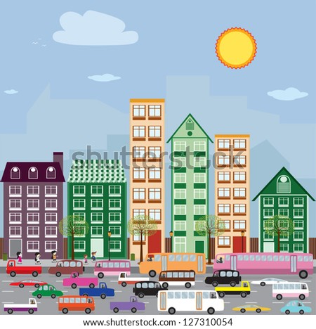 Townhouses in the city. - stock vector
