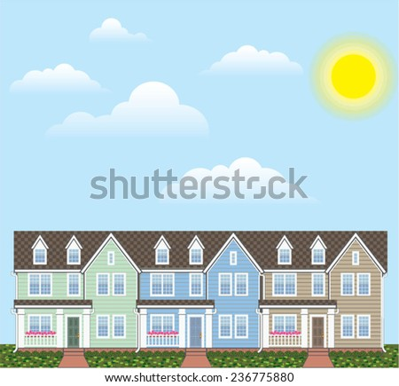 Townhouses Row with Sunny weather Vector - stock vector
