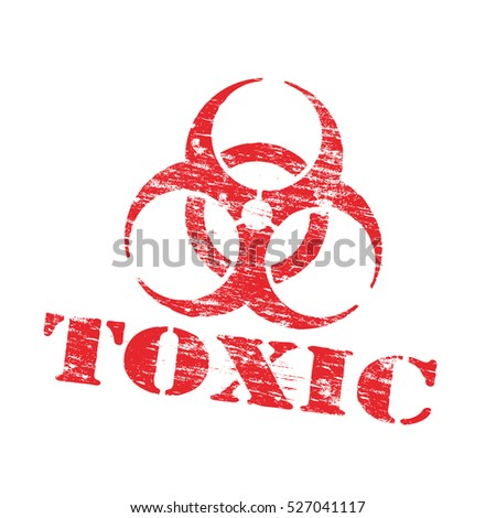 Toxic biohazard symbol grungy rubber stamp vector illustration