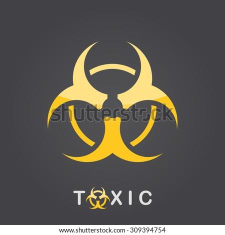 Toxic sign on dark gradient background,  bio hazard icon, 2d vector, eps 8 - stock vector