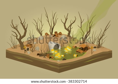 Toxic waste dump. 3D lowpoly isometric vector concept illustration - stock vector