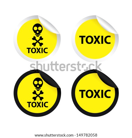 Toxic yellow labels and stickers, isolated on white background - stock vector