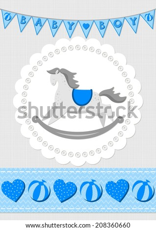 toy animal rocking horse on white doily with flag banner and seamless ribbon blue baby boy room decorative illustration - stock vector