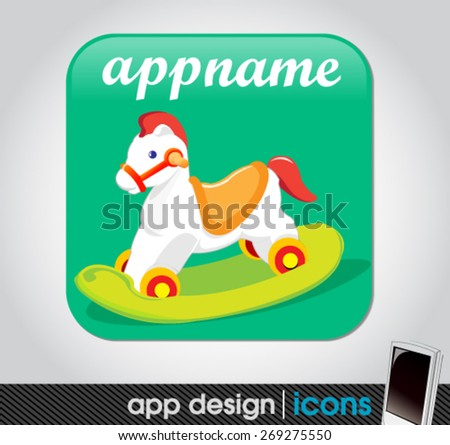 toy app for mobile devices with a wooden horse  - stock vector