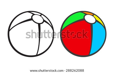 Toy beach ball  for coloring book isolated on white. Vector illustration - stock vector