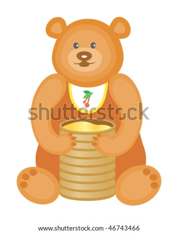 Toy bear with honey