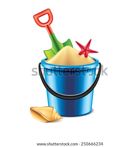 Toy bucket and spade isolated on white photo-realistic vector illustration - stock vector