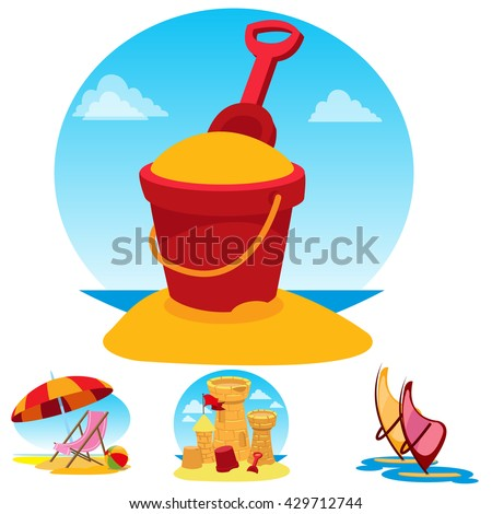 Toy bucket, beach chair and umbrella, sand castle, windsurfing. Set of color illustrations on the theme of summer. - stock vector