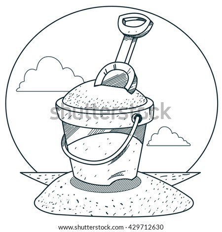 Toy Bucket Sand Rake Outline Drawings Stock Vector 429712630 ...