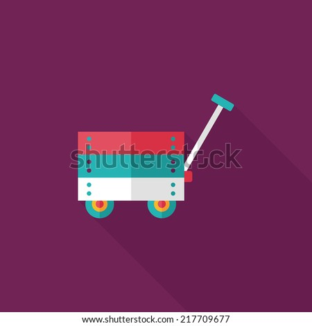 toy cart flat icon with long shadow,eps10