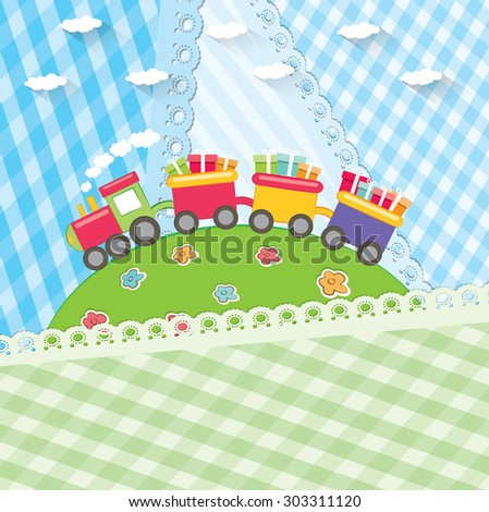 Toy colorful train. Cartoon vector illustration.   - stock vector
