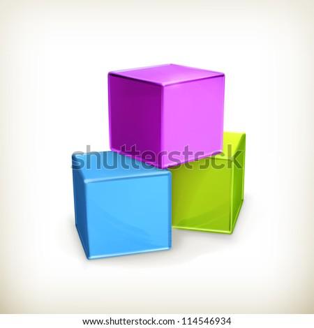 Toy cubes, vector - stock vector