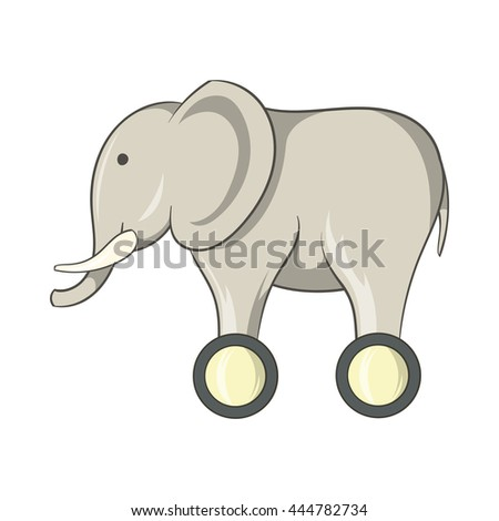 Toy elephant on wheels icon in cartoon style isolated on white background. Games and toys symbol - stock vector