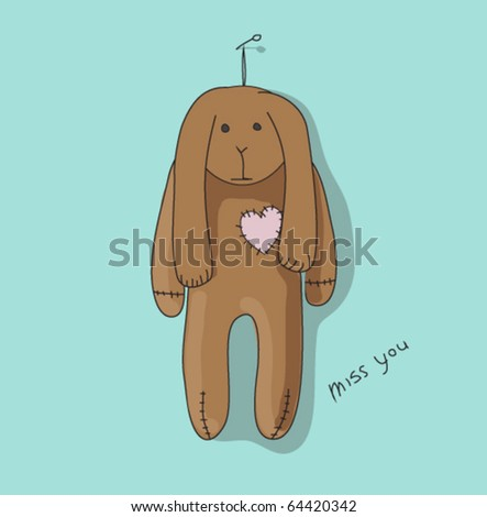 Toy hare - stock vector