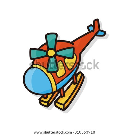 toy helicopter doodle - stock vector