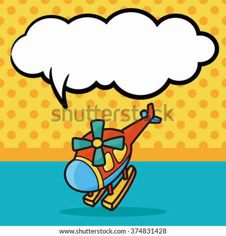 toy helicopter doodle, speech bubble - stock vector