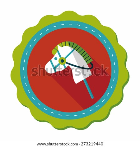 toy horse flat icon with long shadow,eps10 - stock vector