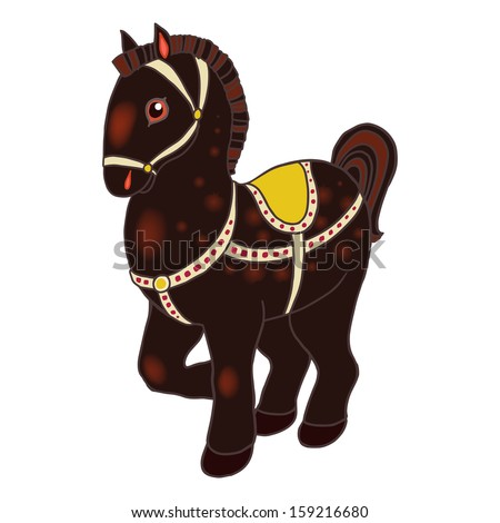 Toy horse isolated vector illustration.