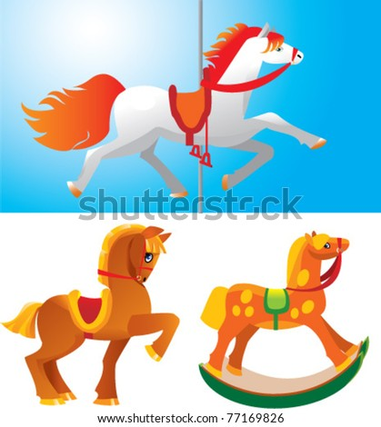 toy horses - stock vector
