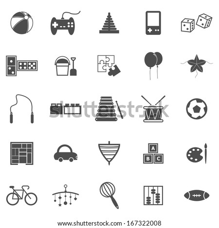 Toy icons on white background, stock vector  - stock vector