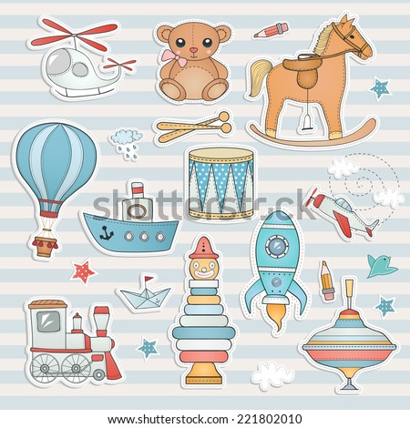 Toy labels collection. - stock vector
