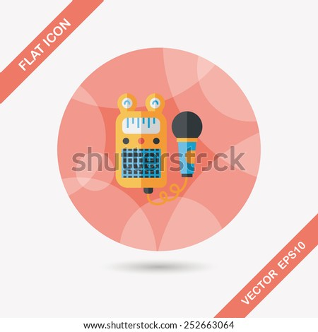 toy microphone flat icon with long shadow,eps10 - stock vector