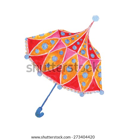 Toy, ornate bright umbrella. Isolated, easily editable vector image. - stock vector