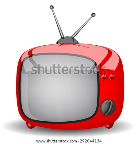 Toy red television on a white background - stock vector