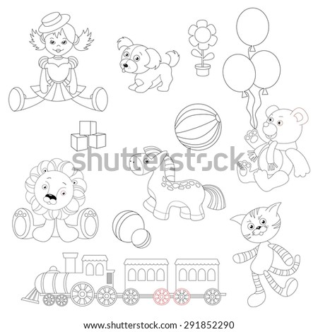 Toy set to be colored. Doll in dress and hat, little puppy toy, flower pot, balloons, dice, bouncy ball, toy bear wearing scarf, lion cub plush, horse toy, train locomotive, gray tabby cat toy.