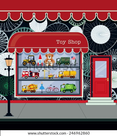 Toy shop fronts along the city streets. - stock vector