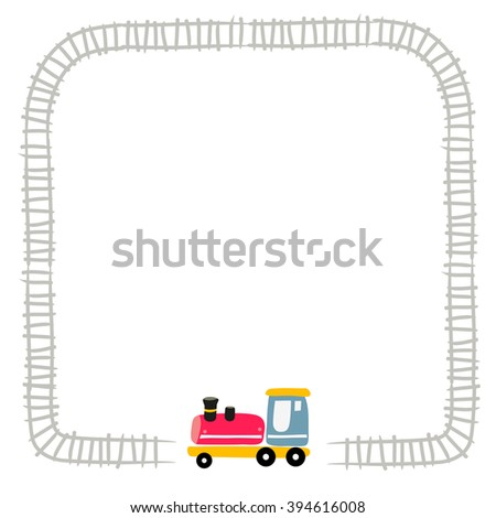 Toy train, locomotive, on railway. Vector illustration for kids with space for text insertion. Border. - stock vector