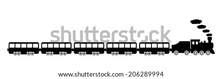 Toy train on white background. Vector illustration. - stock vector