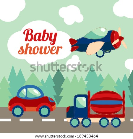 Toy transport on the road with forest on background baby shower invitation card vector illustration. - stock vector