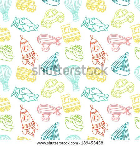 Toy transport outline seamless pattern with car airplane space rocket boat vector illustration - stock vector