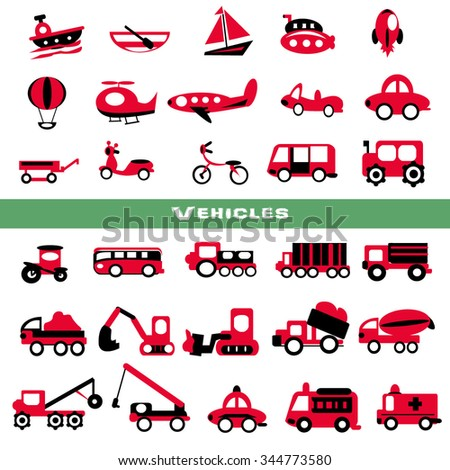 Toy transport set,red color - stock vector