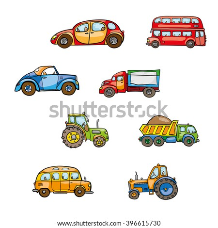 Toy vehicles. Cute hand drawn kids toy transport. Baby toy cartoon tractor, bus, truck, car, droll wheels, route, funny drive, vector on white background. Set of isolated elements on white background - stock vector