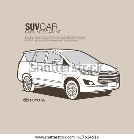 Toyota Suv Vector Outline Stock Vector Shutterstock