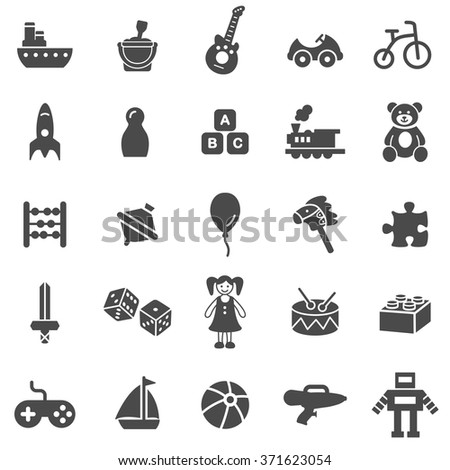 Toys black icons set.Vector. - stock vector