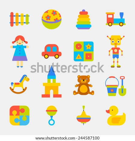 toys bright color icons on white background
