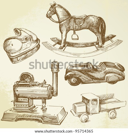 toys collection - hand drawn set - stock vector