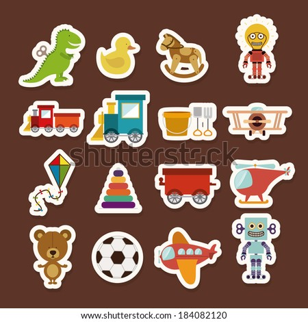 Toys colorful icon set, Vector illustration - stock vector