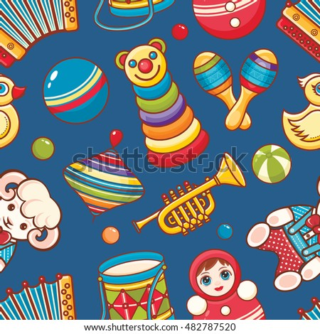 Toys for baby. Seamless pattern. Colorful image. Cartoon style. Vector