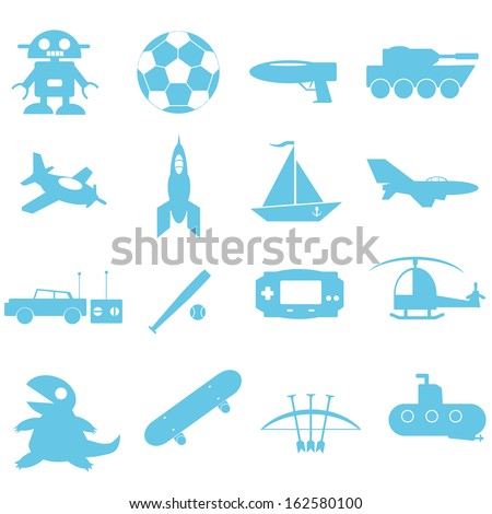 Toys for boy icon on white background - stock vector